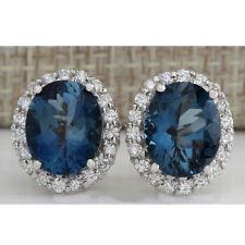 Luxury 925 Silver Women Blue Topaz Studs Earrings Wedding Bridal Party Jewelry