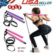 Pilates Bar Kit W/Resistance Band Pull Rope Exercise Stick Toning Gym Portable