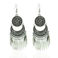 Boho Bohemian Gypsy Tribal Silver Flower Drop Dangle Chandelier Earrings