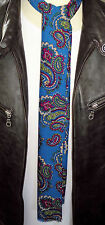 SUPERNOVA Skinny Teal Blue Paisley Mod Scarf Tie Indie Scooter 60s Only 1 made