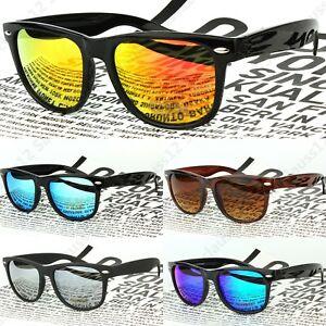 Large Square Frame Sunglasses Mirrored Lenses Mens Womens  UV400