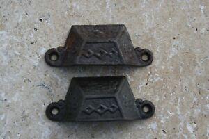 2 Vintage Cast Iron Victorian Aug 1871 Drawer Handle Bin Pull  2 3/8 OC
