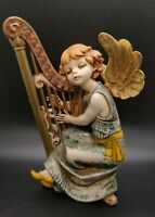 Vintage Fontanini Depose Italy ANGEL WITH HARP Figurine #361 W/ Spider Mark 6""