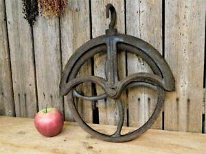 "Antique Primitive Cast Iron Water Well Pulley Wheel AAFA Barn Farm 10 1/2"""