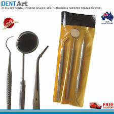 3 PCS Dental Plaque Scaler Professional Tweezers Angled Shape Mirror Tool Kit