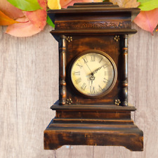 Antique Vintage/Wall clock Large Old Luxurious brown wood Etched Decor Beautiful