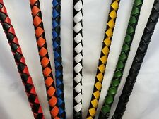 """Get Back Whip 42 inch Biker Motorcycle Leather Whip 2"""" Circumf Stainless Steel"""