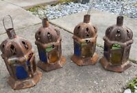 Set 4 Vintage Metal Stained Glass Tea Light Candle Holders Hanging Lantern Lamp