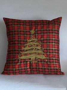 "Antique Gold Embroidered Christmas Tree Cushion Cover 14""x14"" Last One"