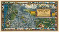 Vintage Pictorial Oregon Trail Map Historic Antique Wall Art Poster Print Decor