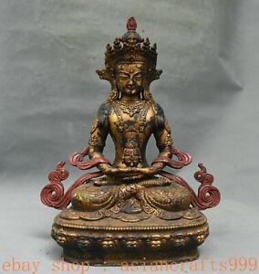 "13.2 ""Tibet Bronze Vergoldet Amitayus Langlebigkeit Göttin Buddha Statue"