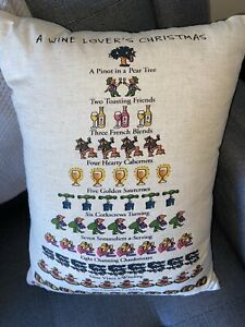 Wine Lovers 12 Days of Christmas Accent Pillow Removable Cover LIN