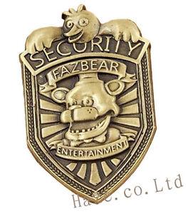 "FNAF Five Nights at Freddy's Fazbear Security Badge Pin Silver Gifts 2"" Pretty"