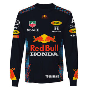 Personalized Red Bull Honda Mobil F1 Racing Long Sleeve Shirt 3D All Over Print
