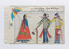 Linda Haukaas Sioux Ledger Art Colored Pencil Drawing Native American Outsider