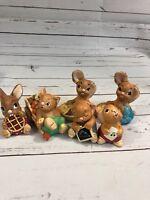 Lot of 6 Cute Bunny Rabbit Figurines Hand Painted Pendelfin England