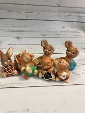 Lot of 6 Cute Bunny Rabbit Figurines Hand Painted Pendelfin England
