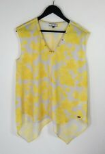 VSSP // 14 // As New Pale Grey & Yellow Print Tunic Top // FREE POST