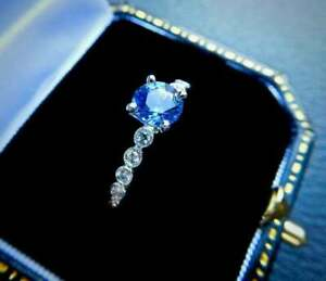 2.50Ct Round Cut Blue Topaz Solitaire Engagement Ring 14K White Gold Over