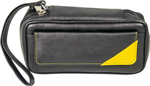 Pipe Bag 2er - Leather Look Black/Yellow - Front Pocket - Loop - Quilting