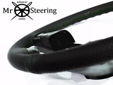 FOR TRIUMPH TR6 69-76 PERFORATED LEATHER STEERING WHEEL COVER GREEN DOUBLE STCH