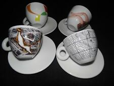 ILLY  2015 SUSTAINART CAPPICCINO CUPS/SAUCER SET OF 4 - OFFICIAL COFFEE PARTNER