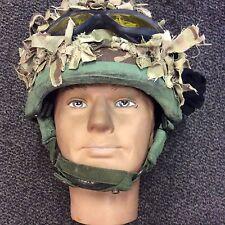British Army mk 7 Kevlar Helmet  with scrim and ballistic goggles med