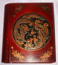 Rare chinois Rétro Dragon Phoenix Motif Cuir Bois Book Box