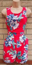 EVITA PINK BLUE FLORAL GREEN FUCHSIA FLORAL SUMMER PLAYSUIT ALL IN ONE 14 L