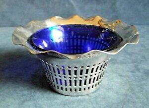 SUPERB ~ SILVER Plate & BLUE Glass ~ Bon-Bon BOWL ~ c1930