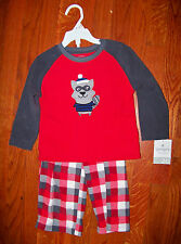 New! Boys CARTER'S 2pc Red & Gray Fleece Raccoon Plaid Pajamas Size 2T - NWT!