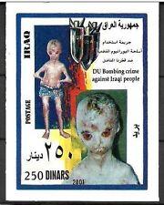 IRAQ IRAK US Bombs Dropped on Iraqi Citizens 2001  SOUVENIR SHEET SC# 1636 MNH