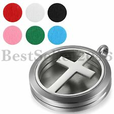 Cross Stainless Steel Essential Oil Diffuser Necklace Perfume Locket Pendant