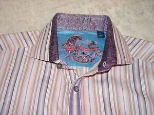 Robert Graham Men 100% Cotton & 100% Silk Purple Striped Shirt XL / India