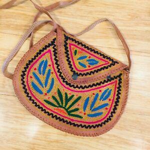 Top Grain Goat Leather Ladies Shoulder Bag Girls Bag Hand Embroidered GIFT