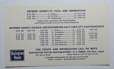 "Burlington Route Railroad 1959  Public Timetable - To/From Quincy   3-1/4x5-1/2"""