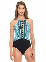 Profile by Gottex Women's Buena Vista High Neck One Piece Swimsuit NWT