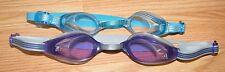 Lot of 2 Adidas Blue & Purple Lens Rubber Seal w/ Adjustable Strap Swim Goggles