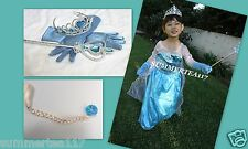 FROZEN ELSA FULL SET Princess Dress Wig/ Ponytail Wand Accessories Size 5-6(M)