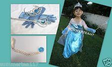FROZEN ELSA FULL SET Princess Dress Wig/ Ponytail Wand Accessories Size 9(XL)