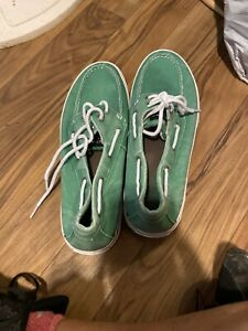 Sperry Mens Canvas Top Sider Fashion Sneaker Shoes Green  sz 11