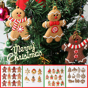 12-24Pcs Gingerbread Man Christmas Tree Hanging Pendant Xmas Tree Decor Ornament