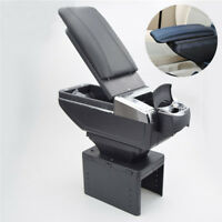 Black Big Storage Armrest Box Center Console PU leather Pads Universal Fit Car