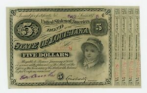 1875 $5 The State of LOUISIANA Baby Bond w/ 4 Coupons CU