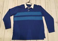 Abacus LS Golf Shirt Polo (3XL Blue, Striped, 100% Cotton) MSRP $80 EUC