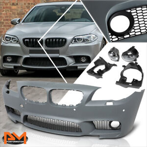 For 10-16 BMW 5-Series F10 M5 Style Front Bumper Cover+Lower Grill+Fog Light+PDC