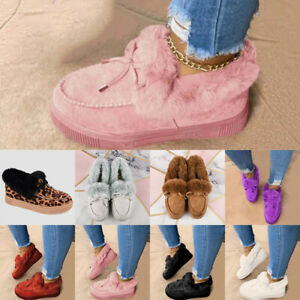 Womens Winter Warm Faux Fur Flat Shoes Plush Lined Booties Slip On Ankle Boots
