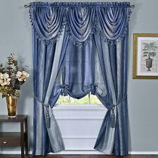 "OMBRE WINDOW TREATMENT set of 2 Panels and 3 Valance blue rainbow design 84"" L"
