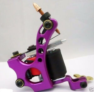 One Aluminum Alloy 10 Wrap Coils Tattoo Machine Gun For Kit Power Supply