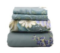Super Soft Egyptian Comfort Sheet Set White Floral Paisley on Eucalyptus Green